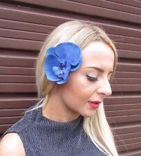 Royal Blue Orchid Flower Hair Clip Rockabilly 1950s Fascinator Vintage Big 3058