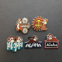 WDW Hidden Mickey Series III - Aloha Chip & Dale - 5 Pin Set Disney Pin 66537