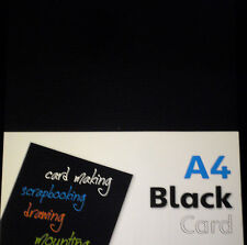 20 SHEET A4 CARD BLACK 250gm HIGH QUALITY ART CRAFT DRAWING COLLAGE SCRAPBOOKING
