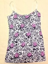 SO CALI Pink  Roses Spagetti Straps Shirt Top Camisole UV Protection  Sz L   NWT