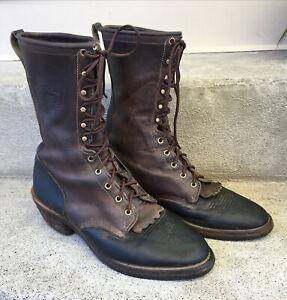 Chippewa Apache Men's Size 11 Black Brown Western Roper Packer Work Boots 29408
