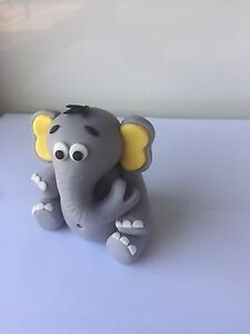 Elephant Cake Topper fondant Baby birthday cakes icing sugar toppers 3D Edible