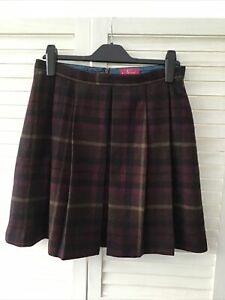 NESS 12 Short Tartan Pleated Tartan Wool Skirt Dark Red Black Yellow Pink Lined