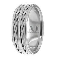 14K Gold Double Twisted Rope With Milgrain Handmade Wedding Band 8mm