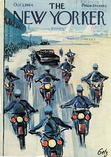 1964 GETZ New Yorker ART COVER ONLY Motorcycle Police Escort from Airport Jet