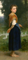"""Art Oil painting Bouguereau - Young beauty girl - The Goose Girl canvas 36"""""""