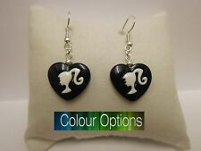 Barbie Heart Earrings 925 Sterling Silver Wires - Clip On -  Colour Options