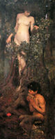 Oil painting J. W. Waterhouse - A Hamadryad nude young girl with young boy 36""
