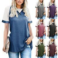 Women Summer Tunic Tops Ladies Leopard Short Sleeve Tee T-Shirt Blouse UK
