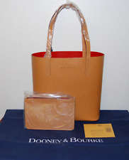NEW WITH TAGS DOONEY & BOURKE BUTTERSCOTCH/RED WAVERLY TOTE WITH POUCH $298