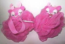 2 pieces Bath & Body Works Sponge Loofah Pouf Scrubbies Strap Pink Reindeer