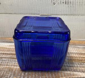 Vintage Hazel Atlas Cobalt Blue Glass Criss Cross Refrigerator Dish w/ Lid