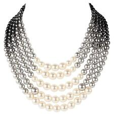 CHANEL CC logo Necklace Choker 2016 Pearl 5 Rows White Black gray Gradient NEW