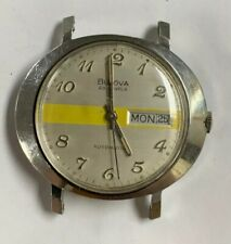 Vintage Mens Bulova Automatic 11 A0ACB Day Date Stainless Steel 23 Jewels Oval