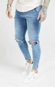 Sik Silk Mens Stonewash Blue Designer Skinny Distress Slice Knee Denim Jeans New