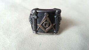 Freimaurer Ring Masonic Siegelring Sonne Mond Schmuck 925 Silber