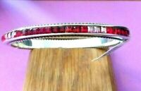 BRIGHTON SPECTRUM Red  Silver OVAL Hinged Bangle BRACELET NWOT & POUCH