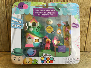 Disney Tsum Tsum City Alice In Wonderland Mad Hatters Hat Shop New in Box 16pc