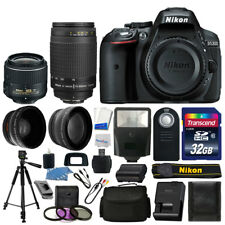 Nikon D5300 Digital SLR Camera + 4 Lens Kit: 18-55mm VR + 70-300mm +32GB Top Kit