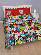 DOUBLE BED MARVEL COMIC STRIP JUSTICE DUVET COVER SET SPIDERMAN THOR HULK IRON