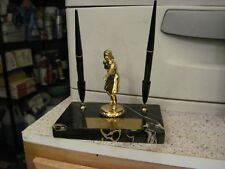 Vintage Mid Century Bowling Trophy Pen Stand With Calendar Marble Base