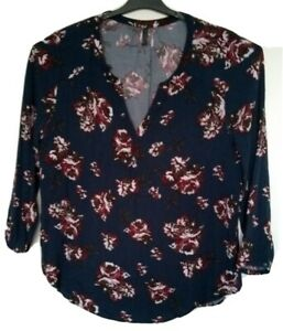 Mink Denim Womens Long Sleeved Navy Blouse Top with Flower Design - Size 16