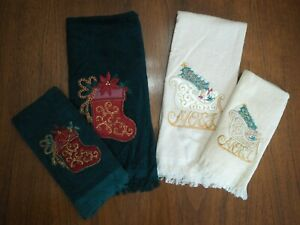 Lot of 4 Christmas Embroidered Tea Hand Towels NOEL Sleigh Stocking