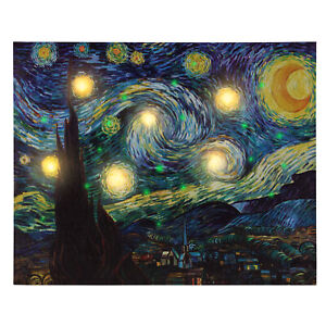 LED Lighted Starry Night Light Up Canvas Wall Art 20 x 16 Inches Timer Battery