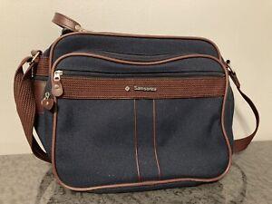 Vintage Samsonite Silhouette Carry On Leather Travel Messenger Shoulder Bag Navy