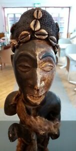 African tribal carved wood wooden head bust figure, shells and carved decoration