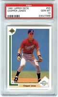"CHIPPER JONES~1991 UPPER DECK #55 ""PSA-10 GEM-MT"" MLB BASEBALL ROOKIE RC CARD"