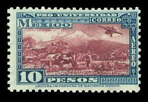 MEXICO 1934 AIRMAIL - Orizaba Volcano 10p blue & maroon  Scott C60  mint MLH