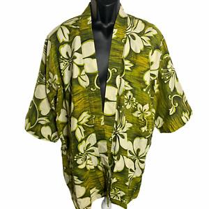 Vintage 70s Hawaiian Barkcloth Swim Robe L Green Tiki Hibiscus Pockets