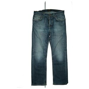 Nudie Jeansco Herren Jeans Hose Regular stretch W34 L32 used Look Blau defekt