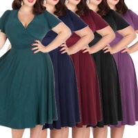 Plus Size 3XL-9XL Vintage Rockabilly Women 50s Swing Dress Evening Party Dress