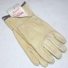 3 pair Lambert 002 Tan w Brown Strap Cowhide Leather Gloves Size Small w Defects