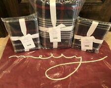 Pottery Barn King Duvet Carson Euro Shams Christmas Merry Pillow Plaid Bedding