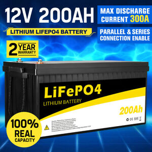 12V 200Ah Lithium Battery LiFePO4 Phosphate Deep Cycle Rechargeable Replace AGM