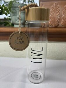 """NWT Rae Dunn """"LIVE"""" Clear Glass Water Bottle w/ Bamboo Lid 9.5"""" Tall"""