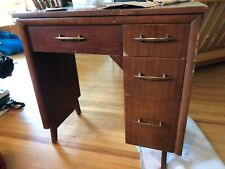 Mid-Century Modern sewing table with storage drawer. Dark stain. Sit inside sew
