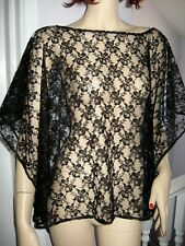 black Lace  Gothic  slouch Top Poncho Cape Rock retro Lagenlook Party ONE SIZE