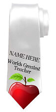 BEST TEACHER THANK YOU GIFT/PRESENT PERSONALISED NECK TIE *ANY NAME/TEXT DETAIL*