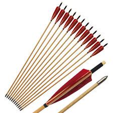 "31/"" Cedar Wood Arrows Spine 450~650 For Archery Longbow Recurve Bow Hunting-12PK"