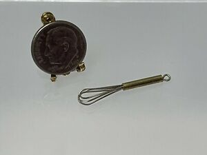 Vintage Artisan FINE Brass Kitchen Whisk Dollhouse Miniature 1:12