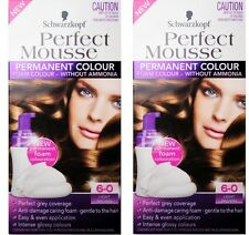 2 x SCHWARZKOPF PERFECT MOUSSE PERMANENT HAIR COLOUR 6-0 LIGHT BROWN Brand New
