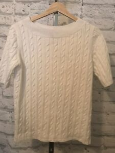 Talbots Petites White Short Sleeve Cable Knit Sweater Size Mp