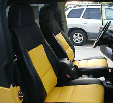 JEEP WRANGLER 2003-2006 BLACK/YELLOW IGGEE S.LEATHER CUSTOM MADE FIT SEAT COVER