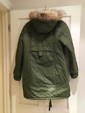 Khaki Parka with Fur Hood, Size M