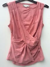 Pe:tite Ladies Pink cross over sleeveless top blouse shirt Size M