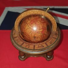 """Vintage Miniature 7"""" Desktop Globe - Antique Style Wooden Base - Made In Italy"""